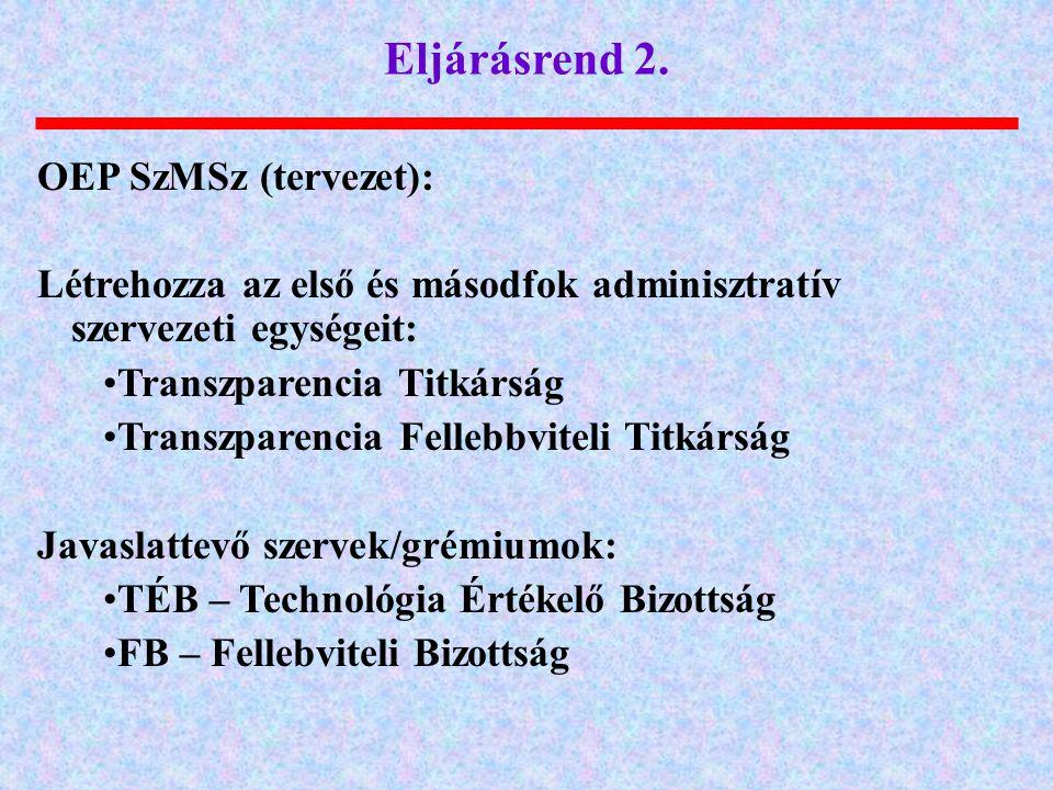 Eljárásrend 2. OEP SzMSz (tervezet):