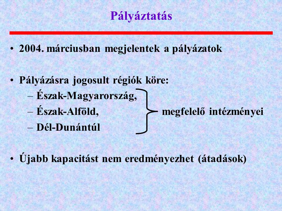Pályáztatás 2004. márciusban megjelentek a pályázatok