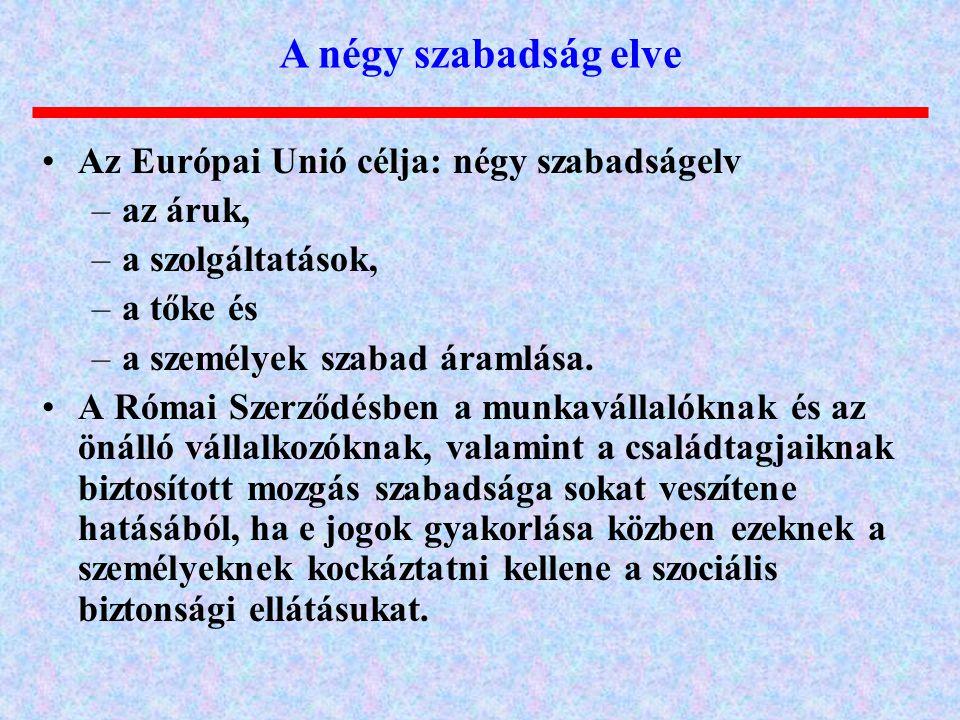 A négy szabadság elve Az Európai Unió célja: négy szabadságelv