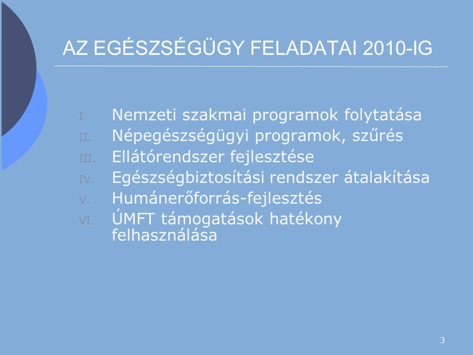 AZ EGÉSZSÉGÜGY FELADATAI 2010-IG