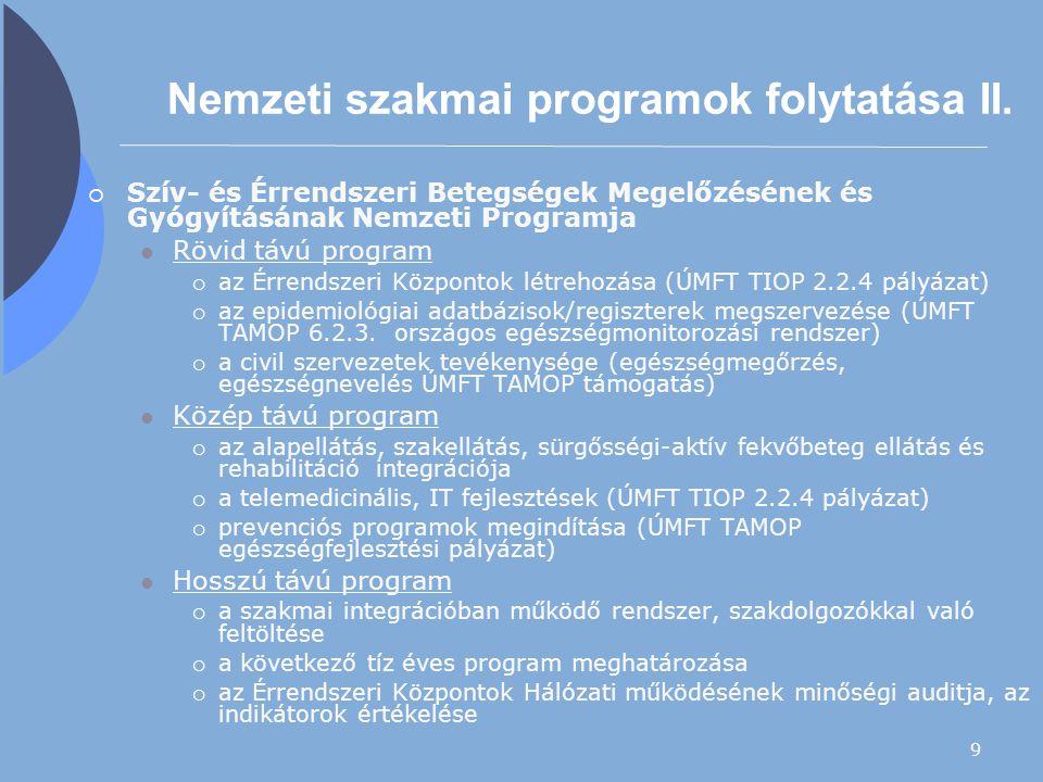 Nemzeti szakmai programok folytatása II.
