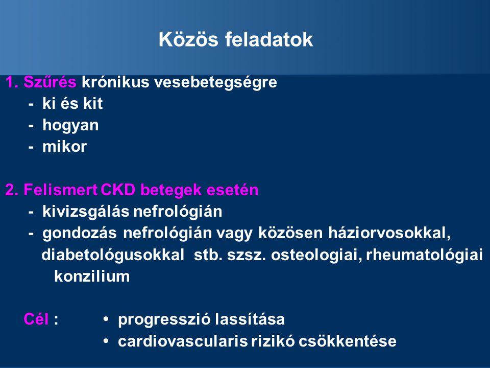 Közös feladatok Szűrés krónikus vesebetegségre - ki és kit - hogyan