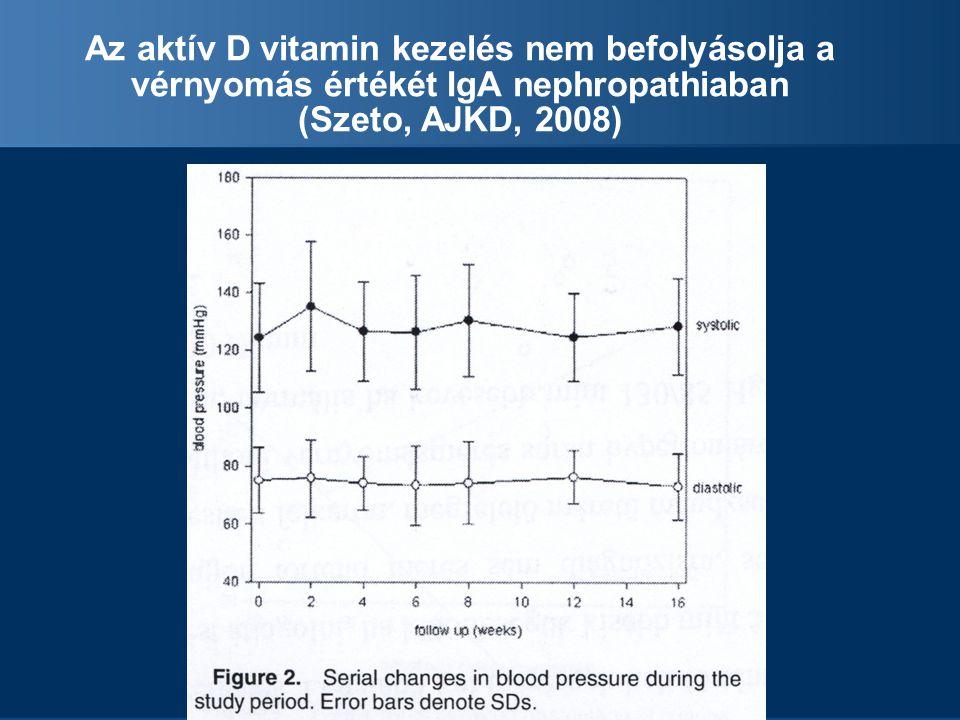 Az aktív D vitamin kezelés nem befolyásolja a vérnyomás értékét IgA nephropathiaban (Szeto, AJKD, 2008)
