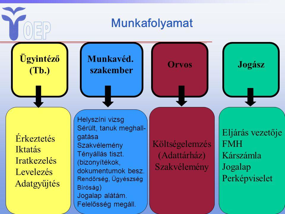 Munkafolyamat Orvos Ügyintéző (Tb.) Munkavéd. szakember Orvos Jogász
