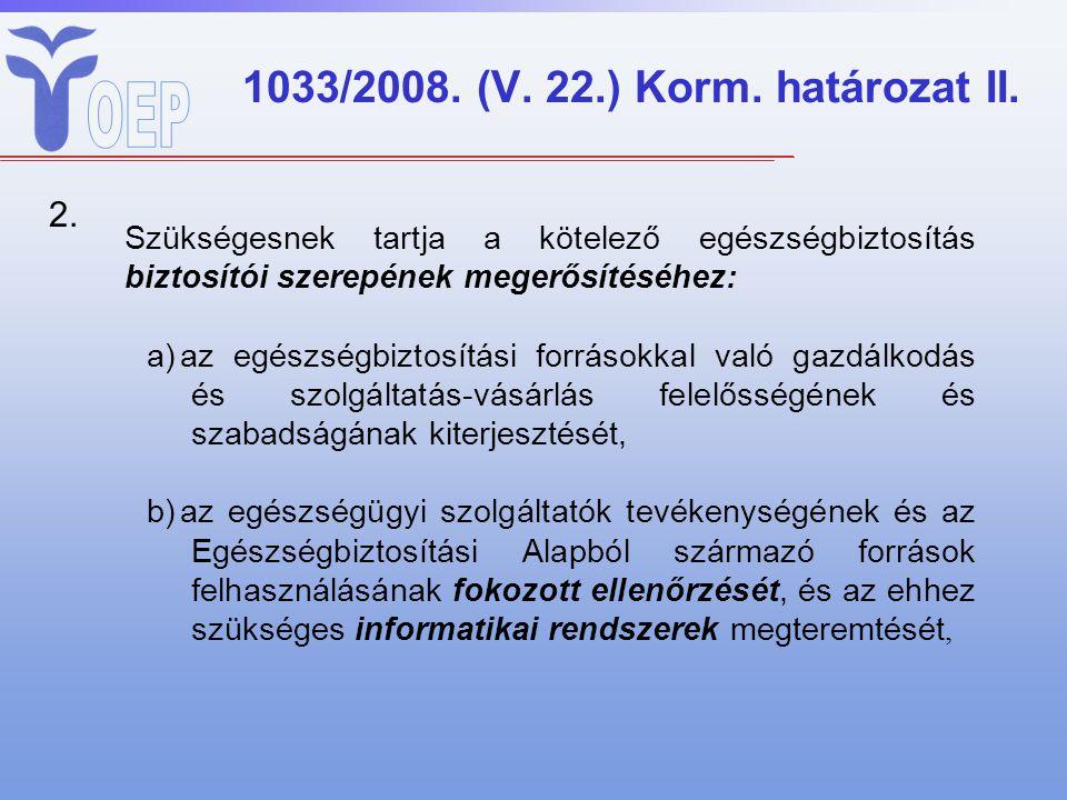 1033/2008. (V. 22.) Korm. határozat II. 2. Szükségesnek tartja a kötelező egészségbiztosítás biztosítói szerepének megerősítéséhez: