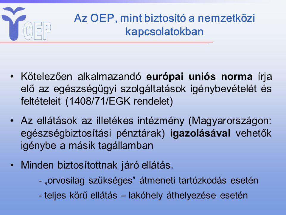 Az OEP, mint biztosító a nemzetközi kapcsolatokban