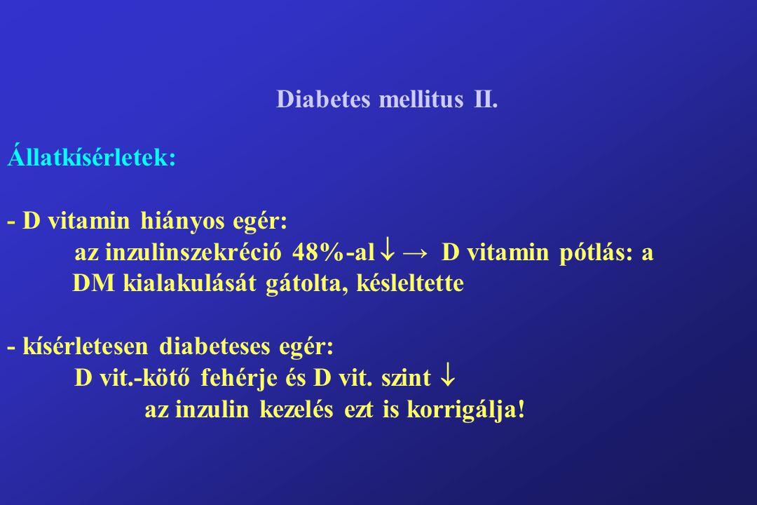 Diabetes mellitus II. Állatkísérletek: - D vitamin hiányos egér: