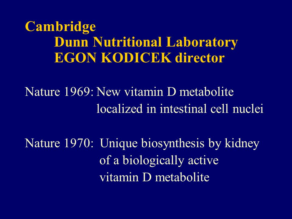Cambridge Dunn Nutritional Laboratory EGON KODICEK director