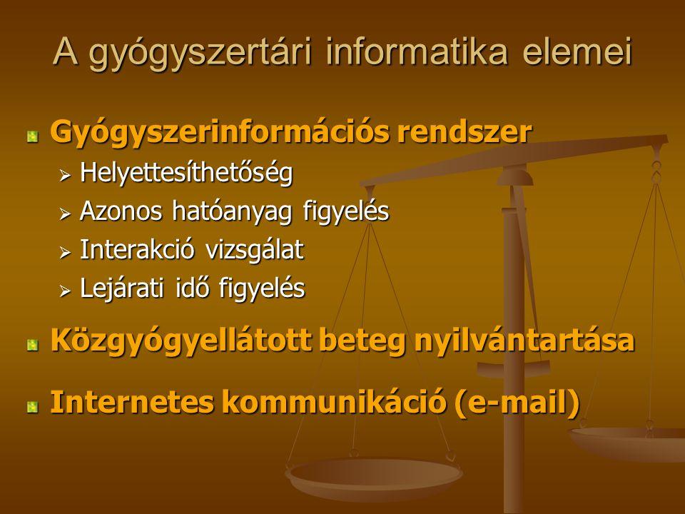 A gyógyszertári informatika elemei