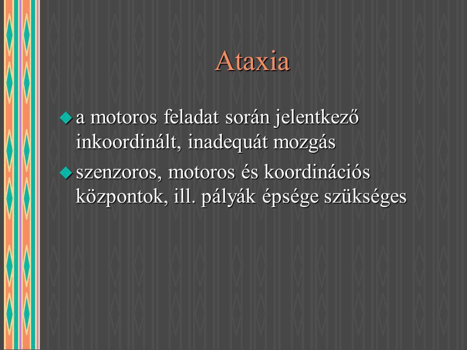 Ataxia a motoros feladat során jelentkező inkoordinált, inadequát mozgás.