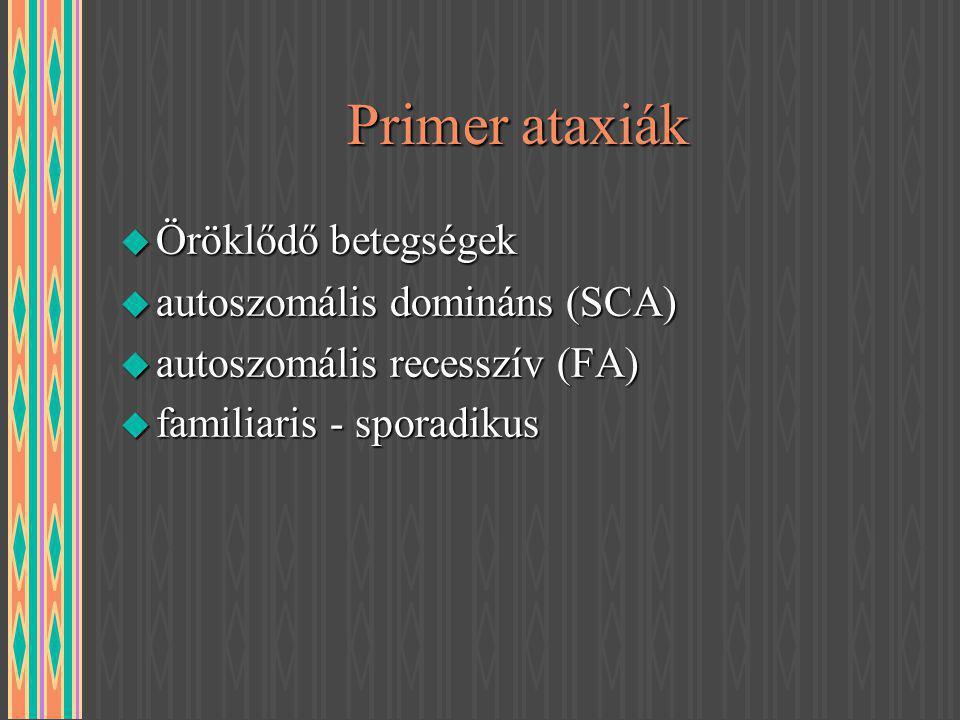 Primer ataxiák Öröklődő betegségek autoszomális domináns (SCA)