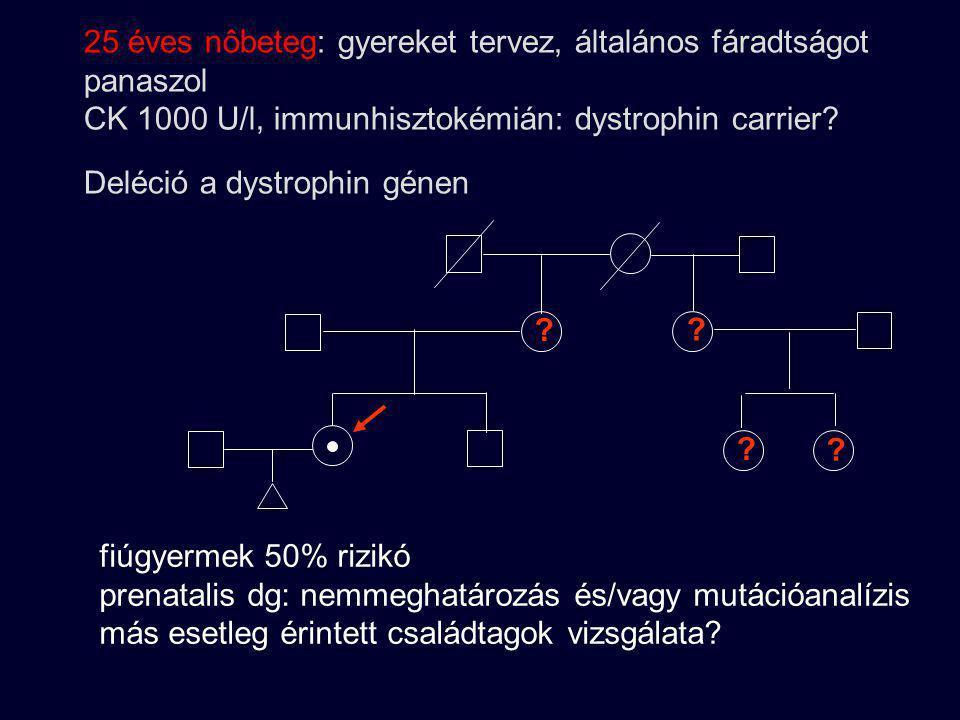 25 éves nôbeteg: gyereket tervez, általános fáradtságot panaszol CK 1000 U/l, immunhisztokémián: dystrophin carrier Deléció a dystrophin génen