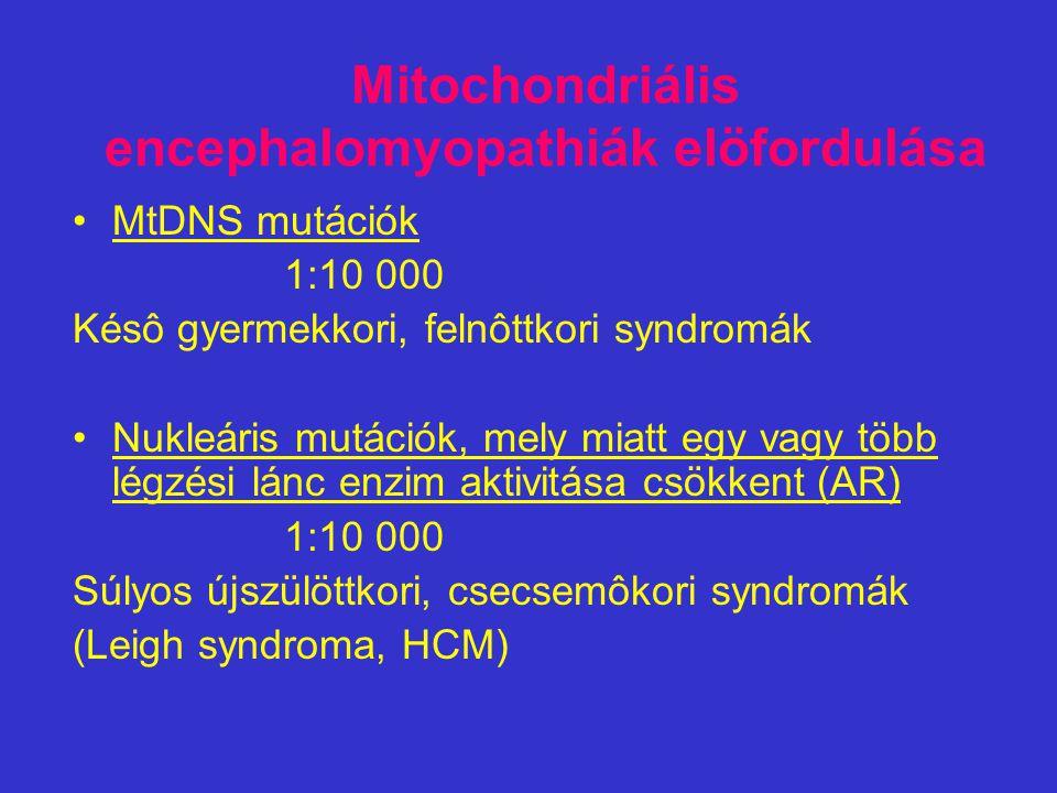 Mitochondriális encephalomyopathiák elöfordulása