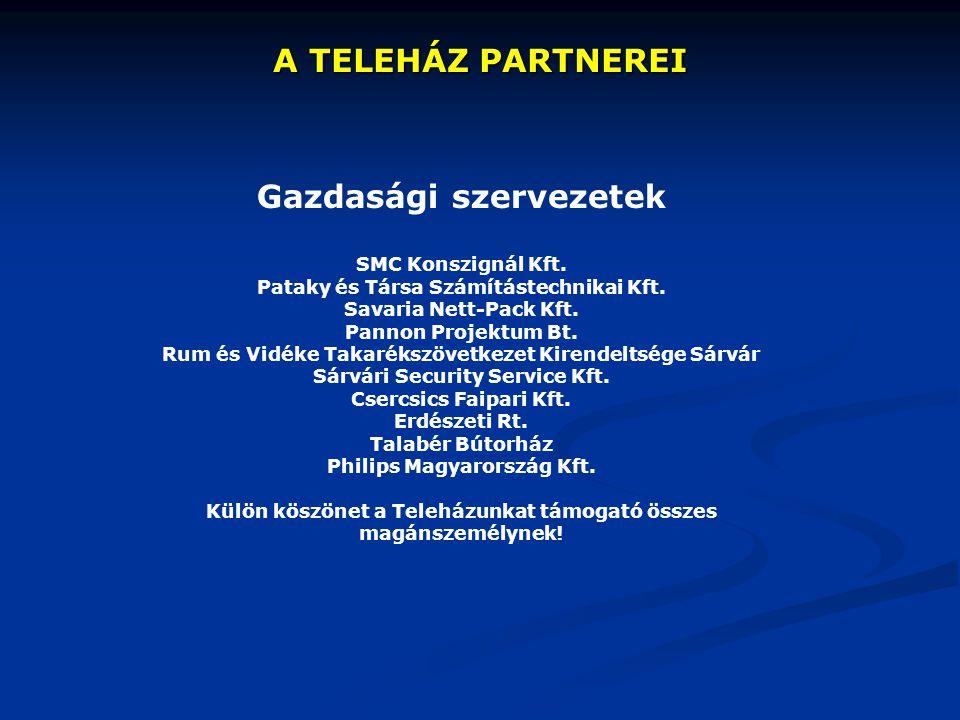 A TELEHÁZ PARTNEREI Gazdasági szervezetek