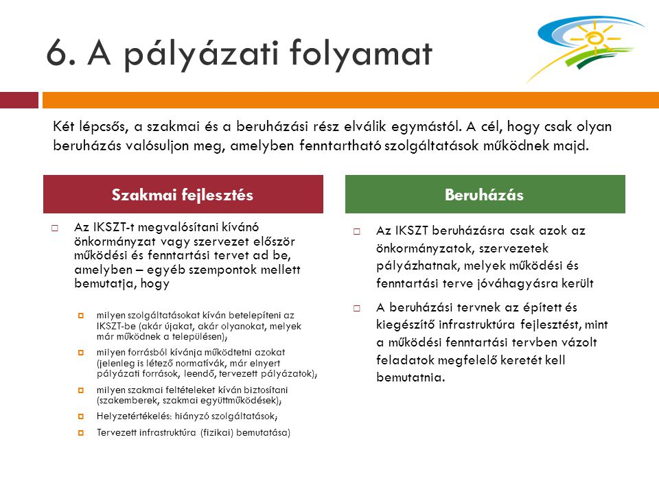 6. A pályázati folyamat Szakmai fejlesztés Beruházás