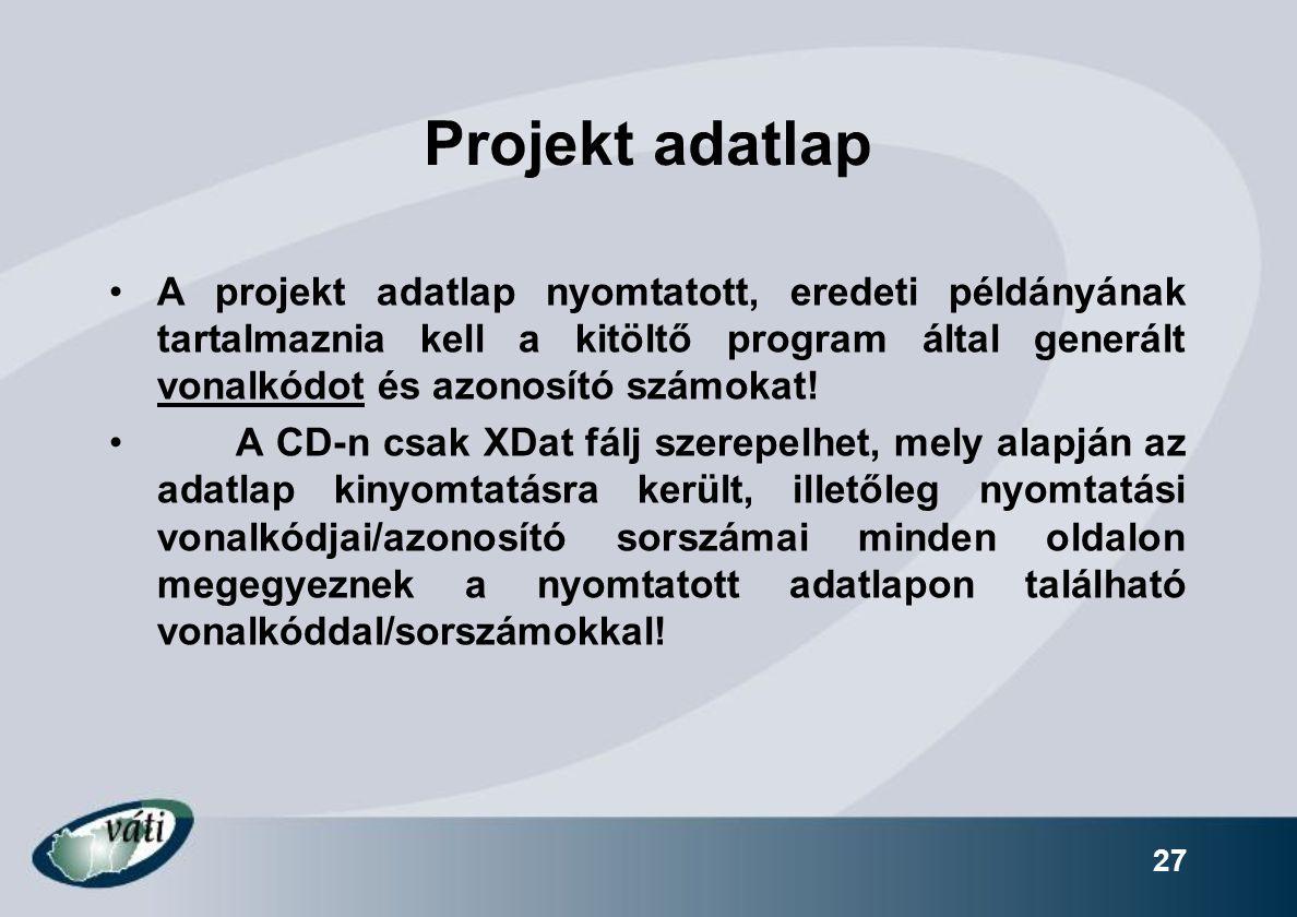 Projekt adatlap