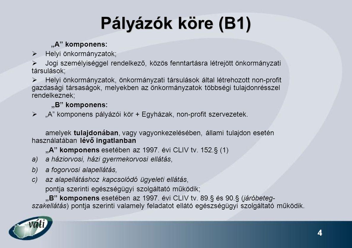 """Pályázók köre (B1) """"A komponens: Helyi önkormányzatok;"""