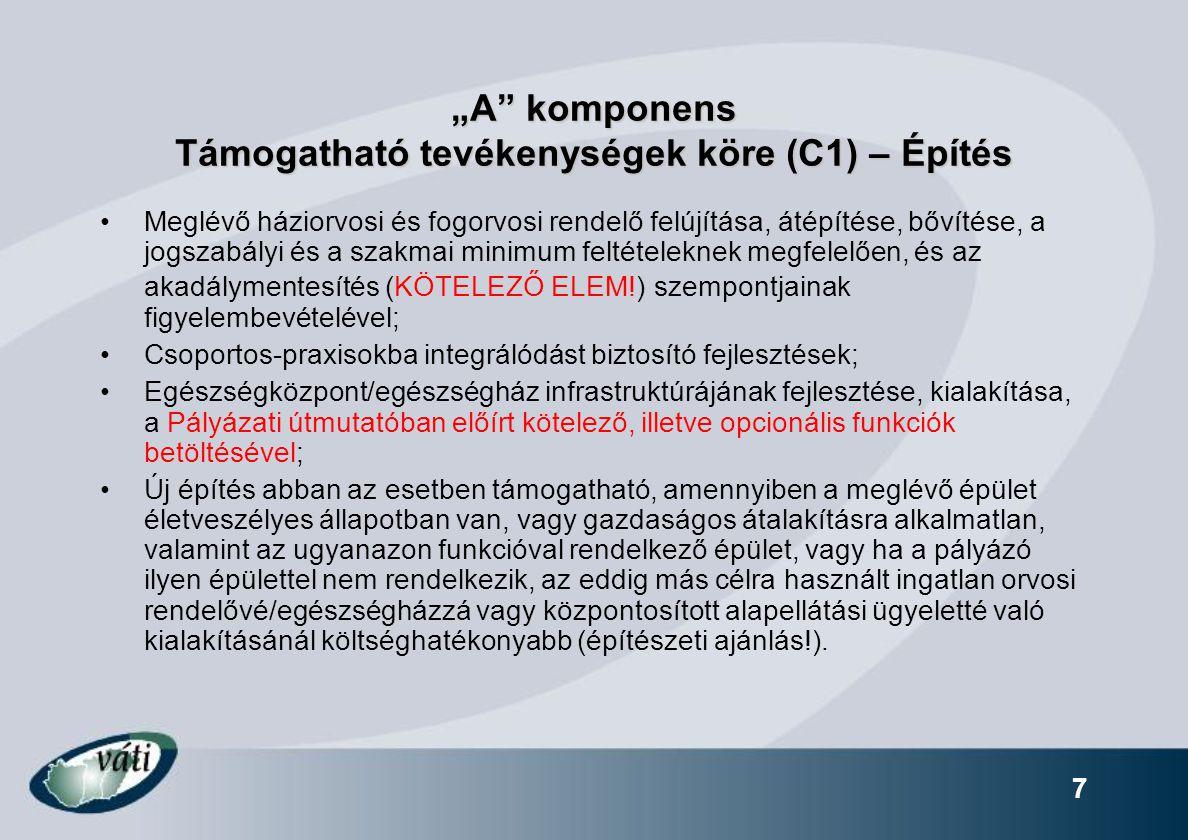 """""""A komponens Támogatható tevékenységek köre (C1) – Építés"""