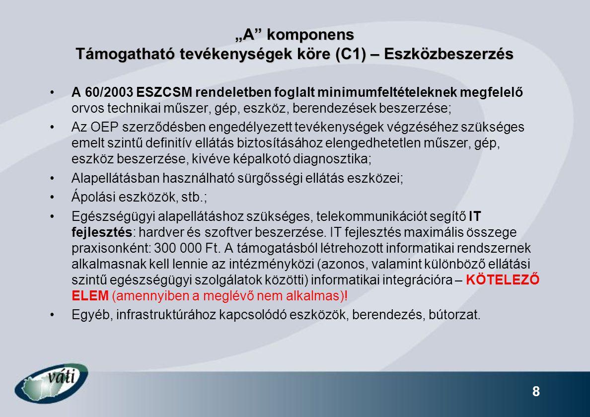 """""""A komponens Támogatható tevékenységek köre (C1) – Eszközbeszerzés"""