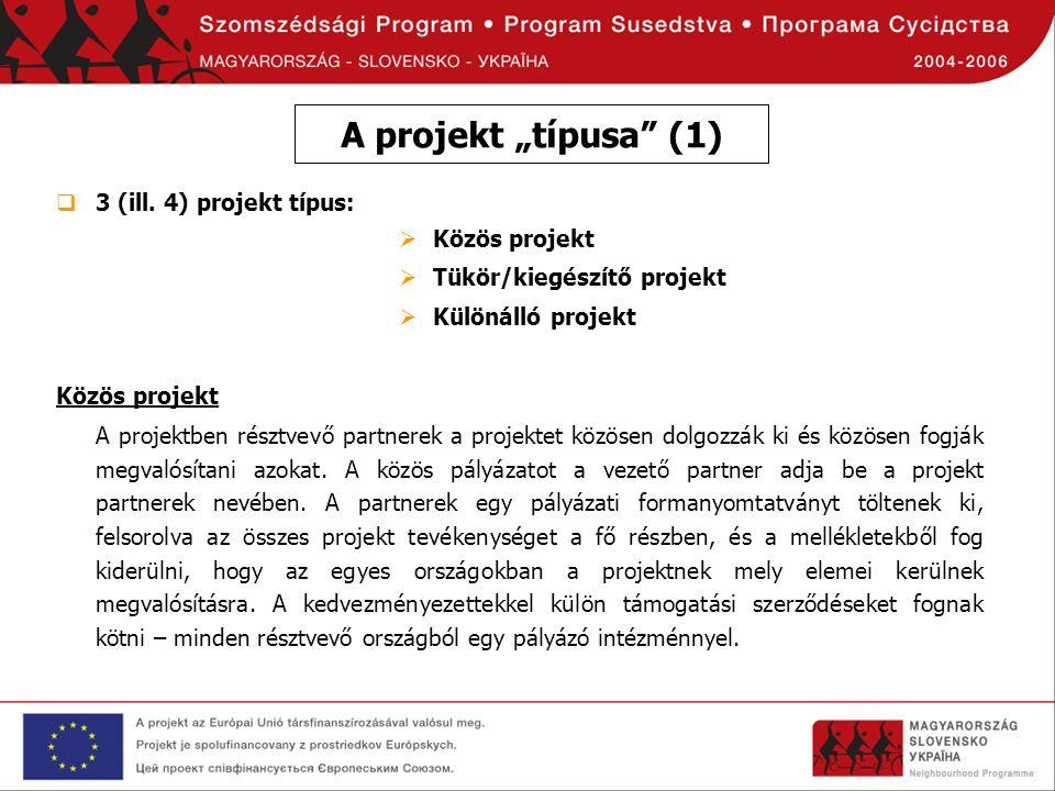 """A projekt """"típusa (1) 3 (ill. 4) projekt típus: Közös projekt"""