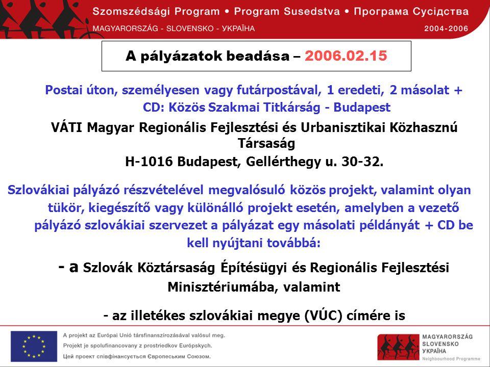 A pályázatok beadása – 2006.02.15 Postai úton, személyesen vagy futárpostával, 1 eredeti, 2 másolat + CD: Közös Szakmai Titkárság - Budapest.