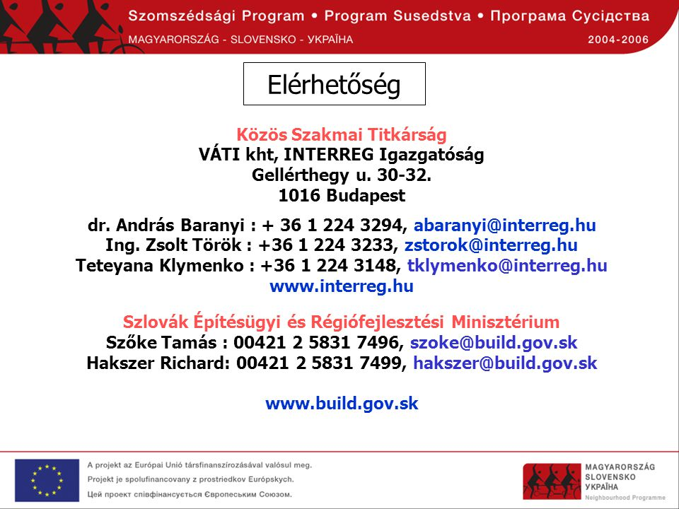 Elérhetőség Közös Szakmai Titkárság VÁTI kht, INTERREG Igazgatóság