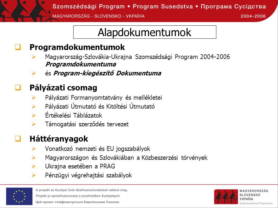 Alapdokumentumok Programdokumentumok Pályázati csomag Háttéranyagok