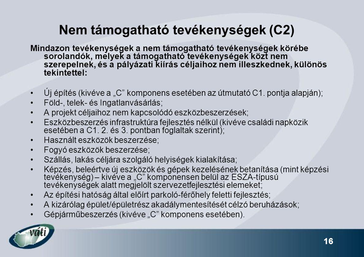 Nem támogatható tevékenységek (C2)