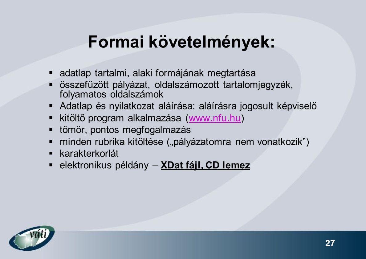 Formai követelmények: