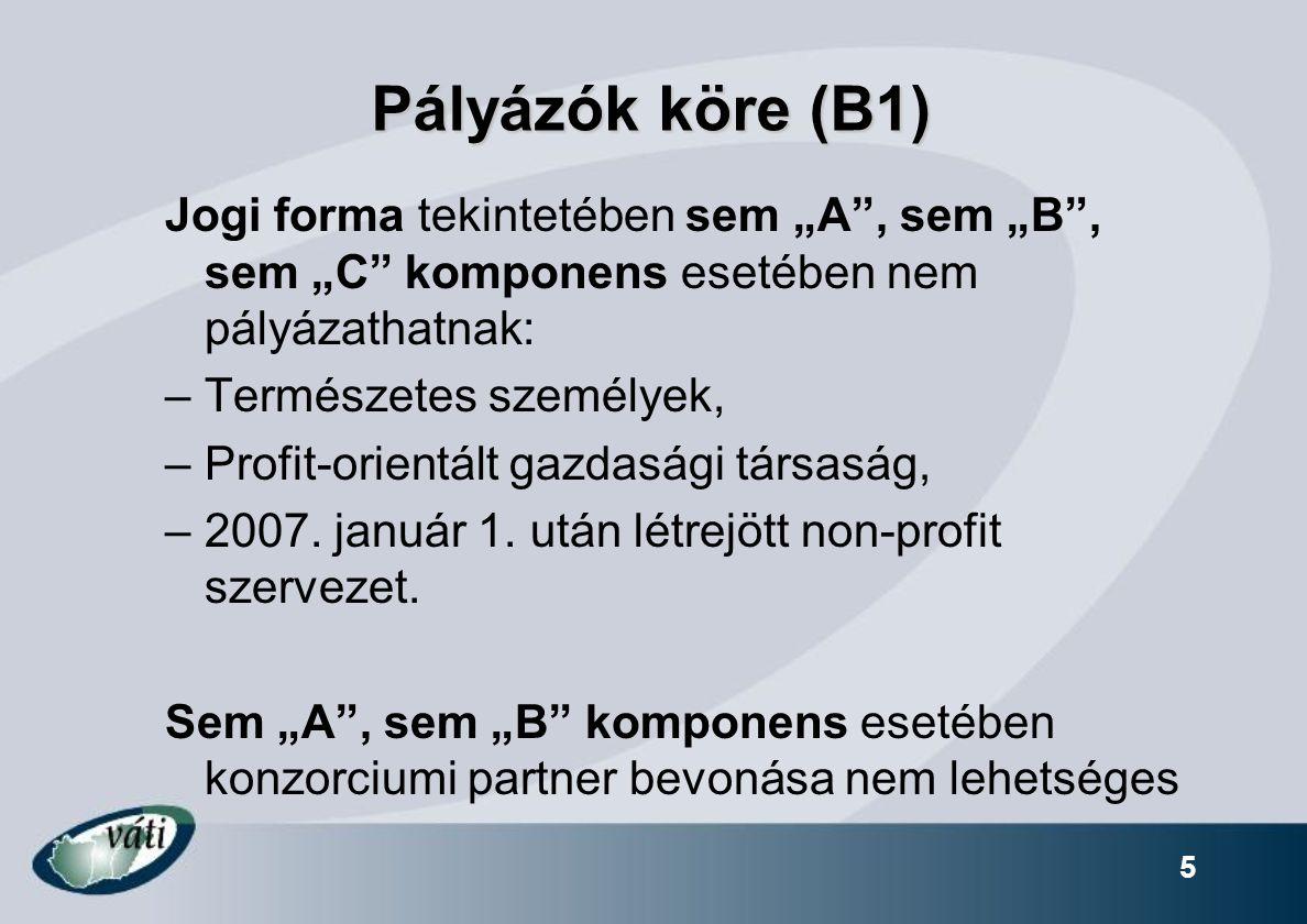 """Pályázók köre (B1) Jogi forma tekintetében sem """"A , sem """"B , sem """"C komponens esetében nem pályázathatnak:"""