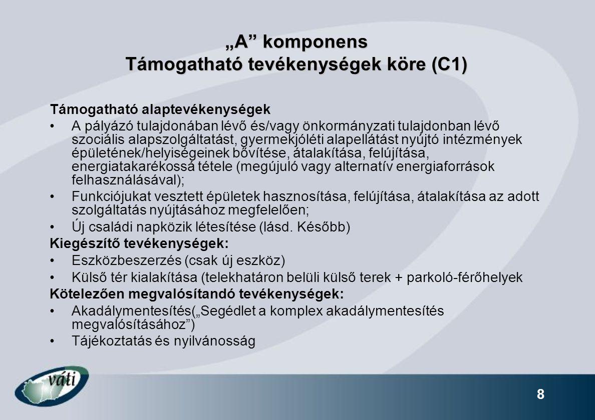 """""""A komponens Támogatható tevékenységek köre (C1)"""