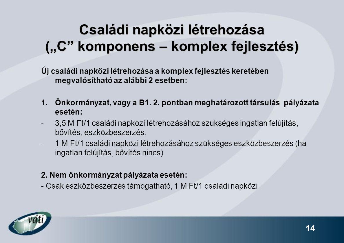 """Családi napközi létrehozása (""""C komponens – komplex fejlesztés)"""