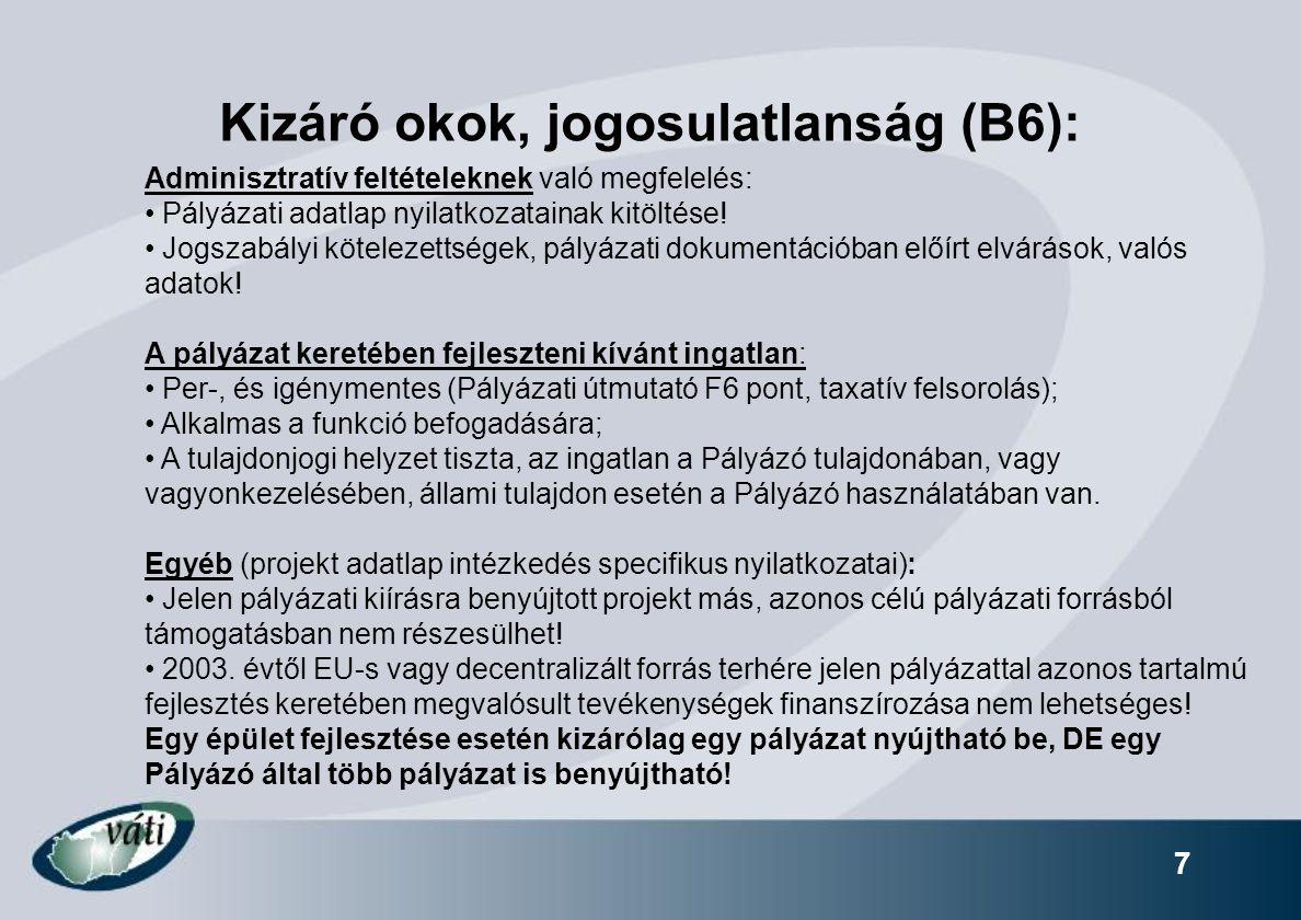 Kizáró okok, jogosulatlanság (B6):