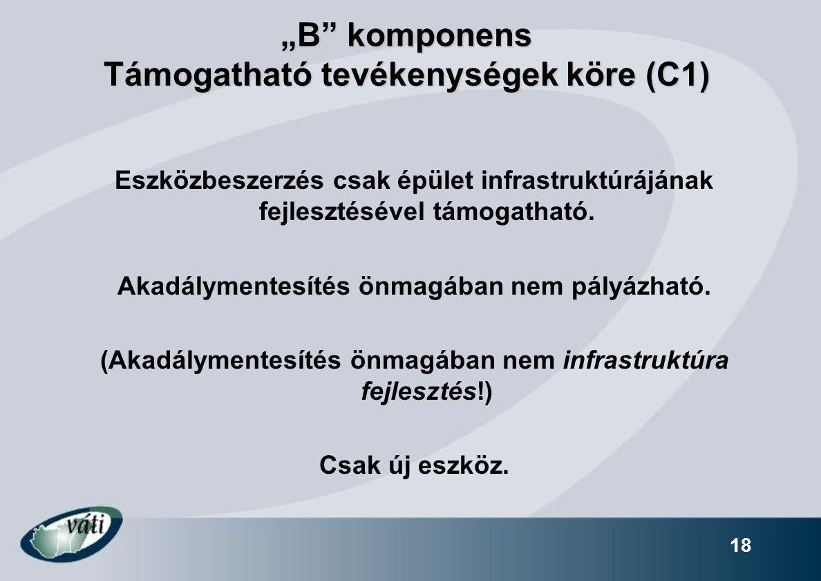 """""""B komponens Támogatható tevékenységek köre (C1)"""
