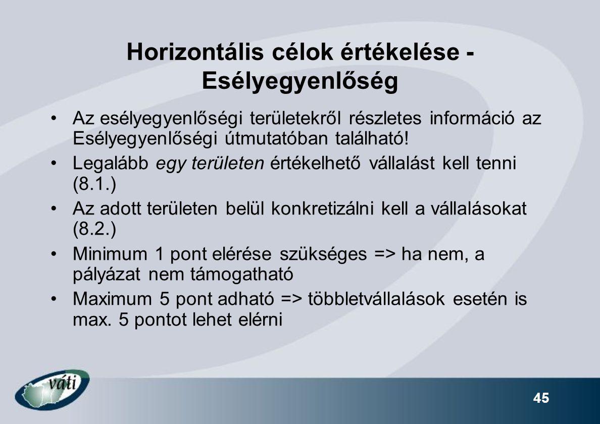 Horizontális célok értékelése - Esélyegyenlőség