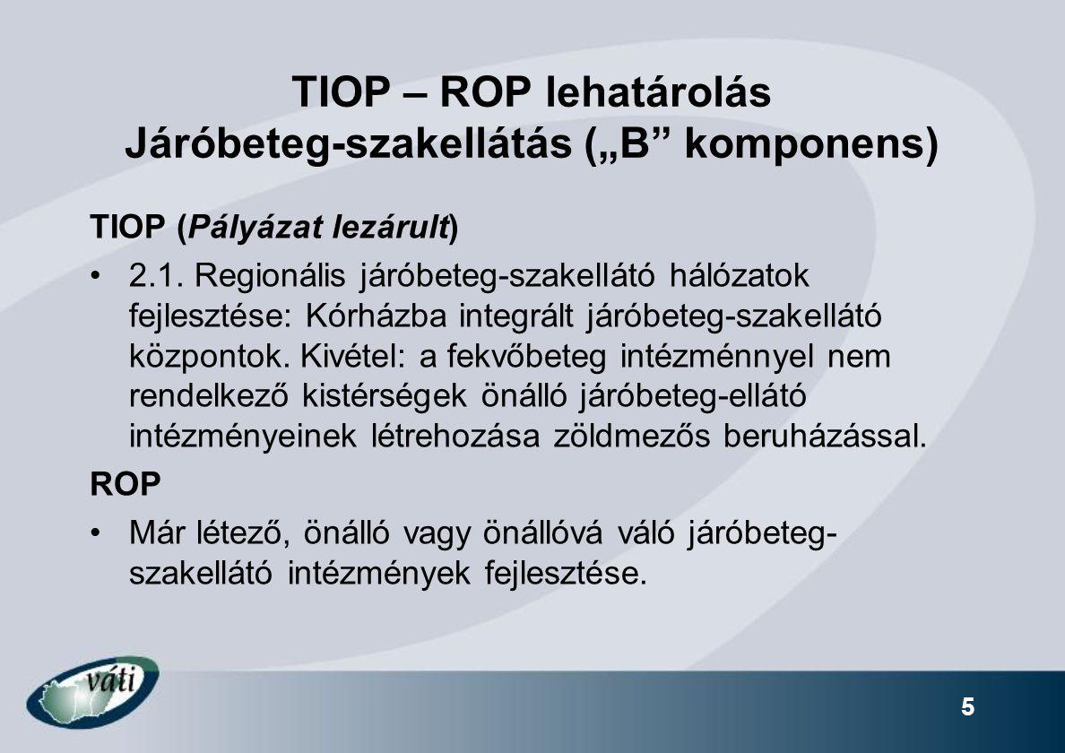 """TIOP – ROP lehatárolás Járóbeteg-szakellátás (""""B komponens)"""