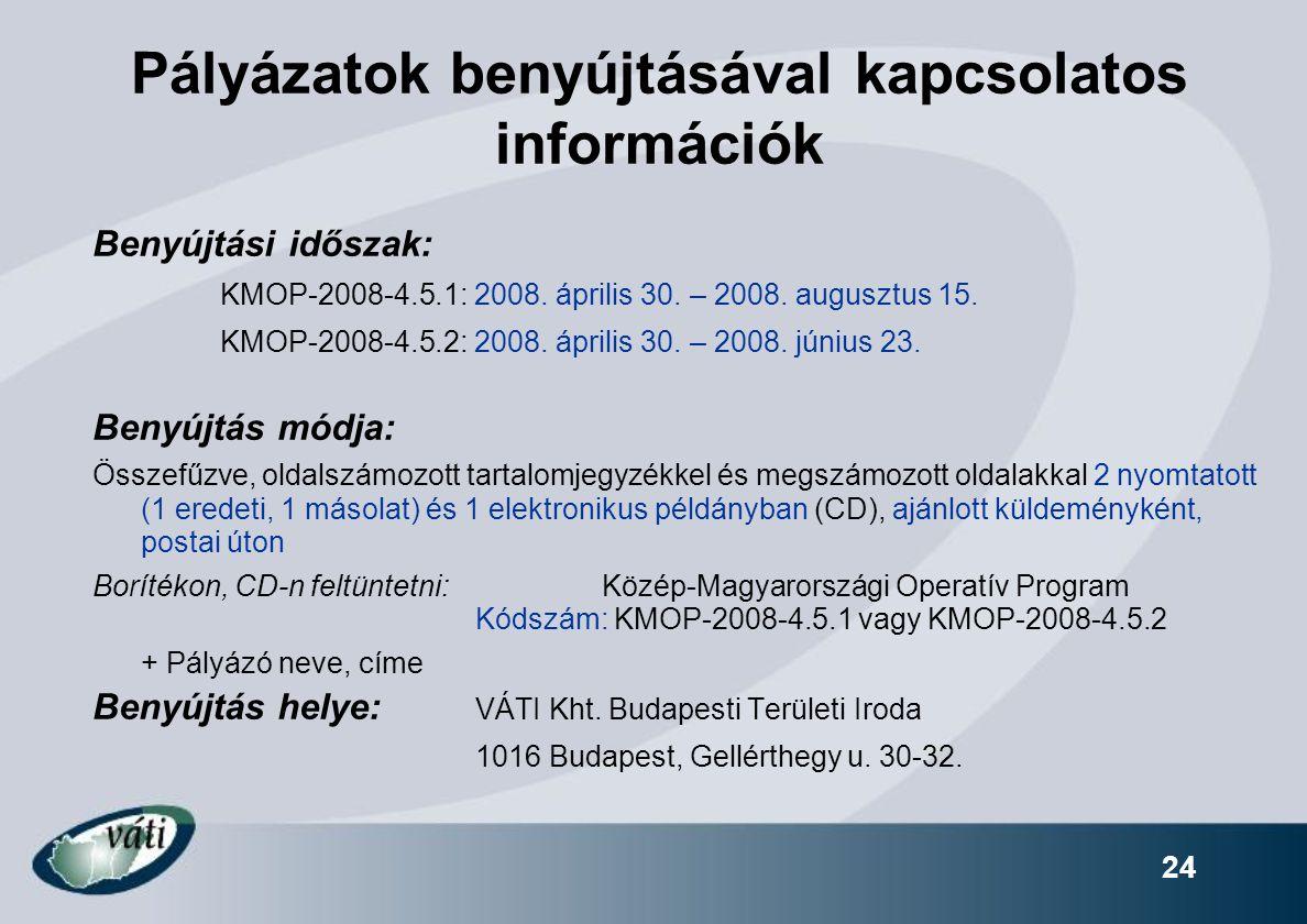 Pályázatok benyújtásával kapcsolatos információk