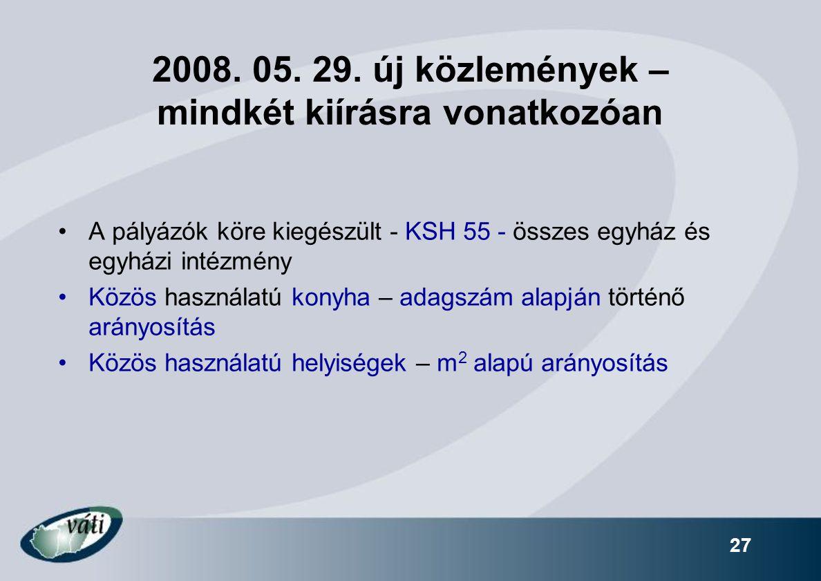 2008. 05. 29. új közlemények – mindkét kiírásra vonatkozóan