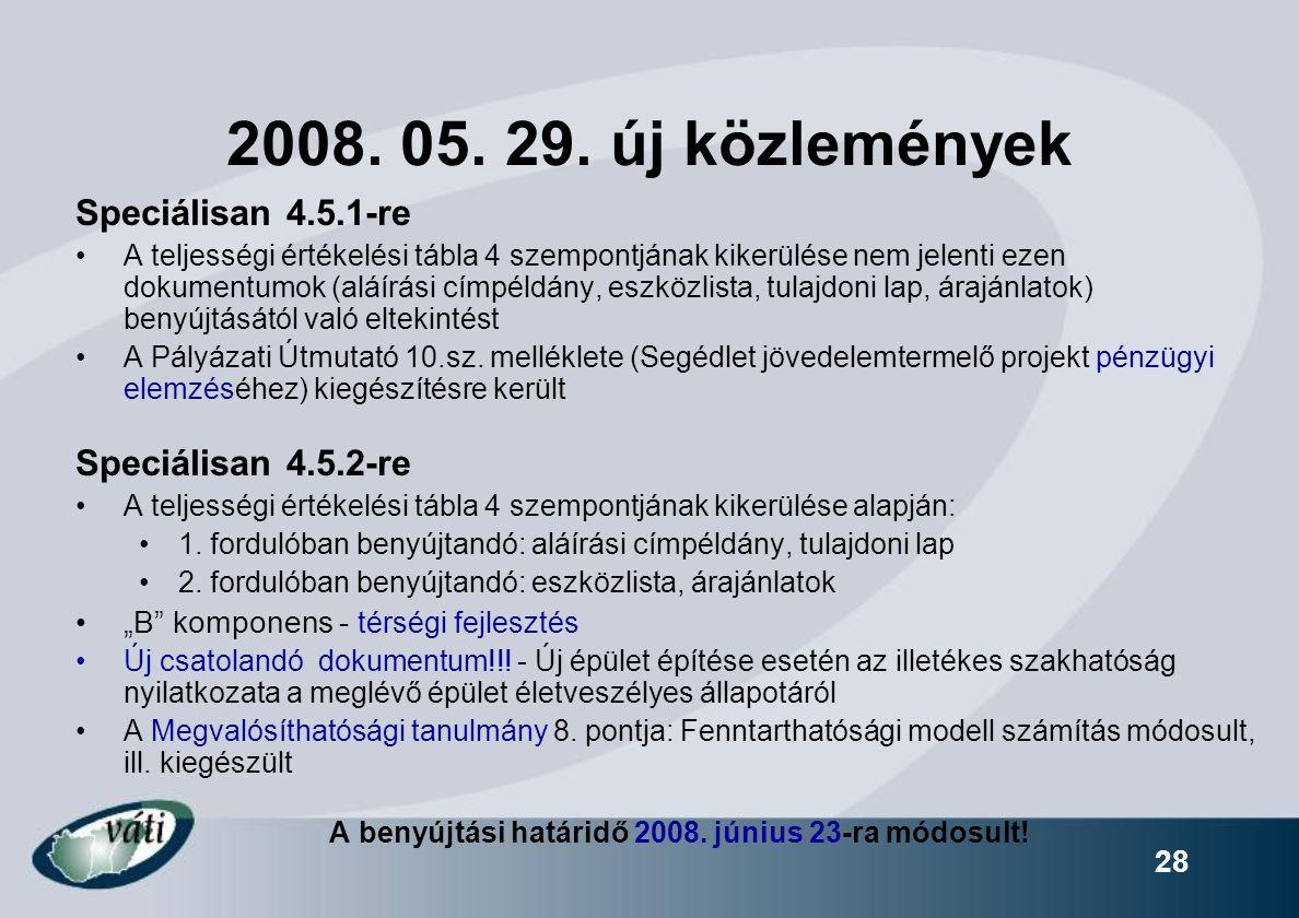 2008. 05. 29. új közlemények Speciálisan 4.5.1-re Speciálisan 4.5.2-re