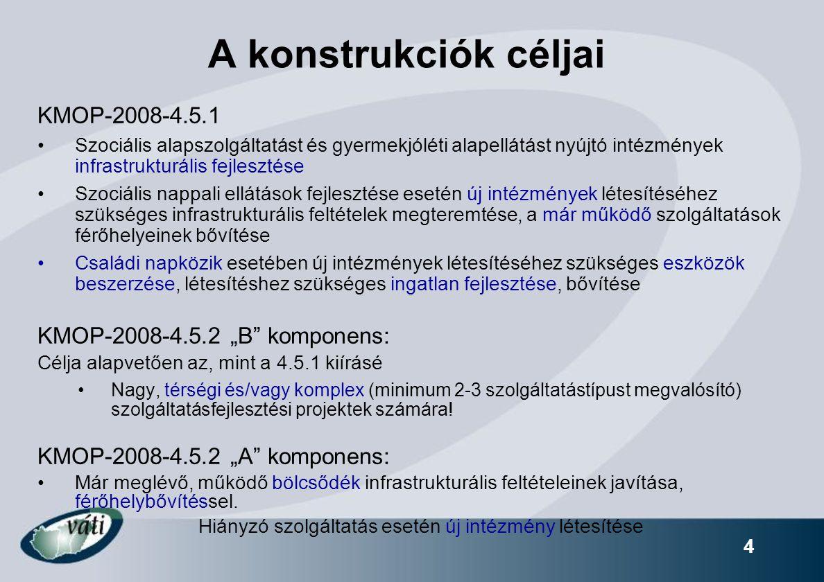 """A konstrukciók céljai KMOP-2008-4.5.1 KMOP-2008-4.5.2 """"B komponens:"""