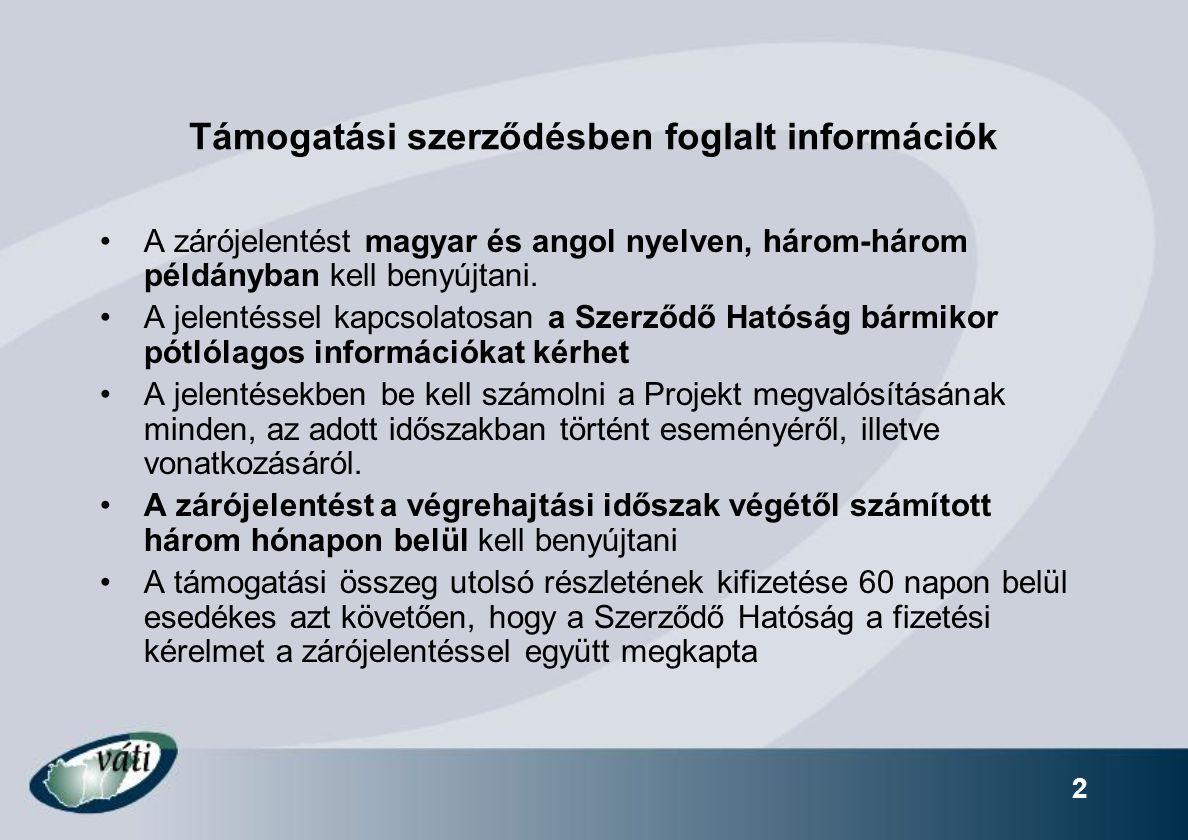 Támogatási szerződésben foglalt információk