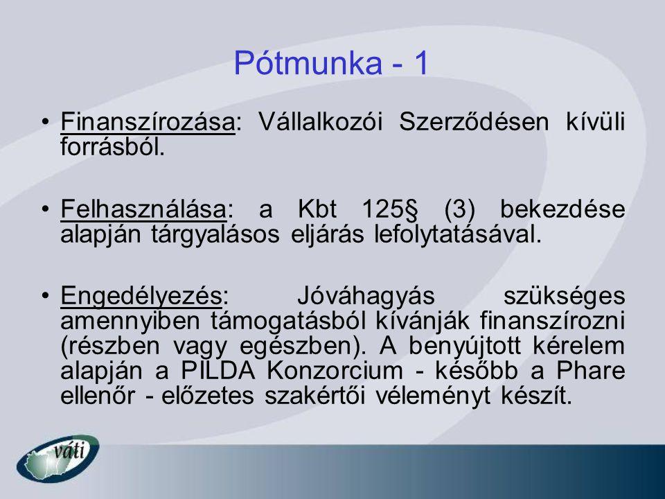 Pótmunka - 1 Finanszírozása: Vállalkozói Szerződésen kívüli forrásból.