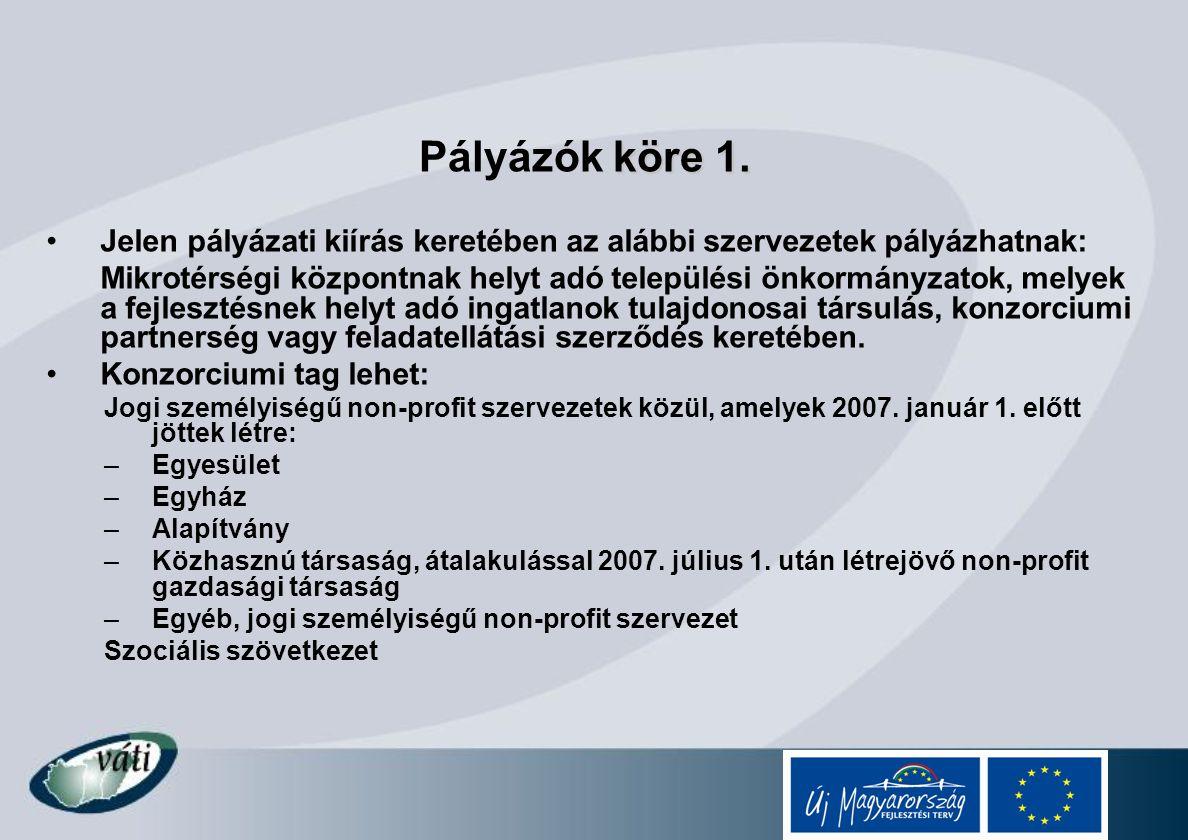 Pályázók köre 1. Jelen pályázati kiírás keretében az alábbi szervezetek pályázhatnak:
