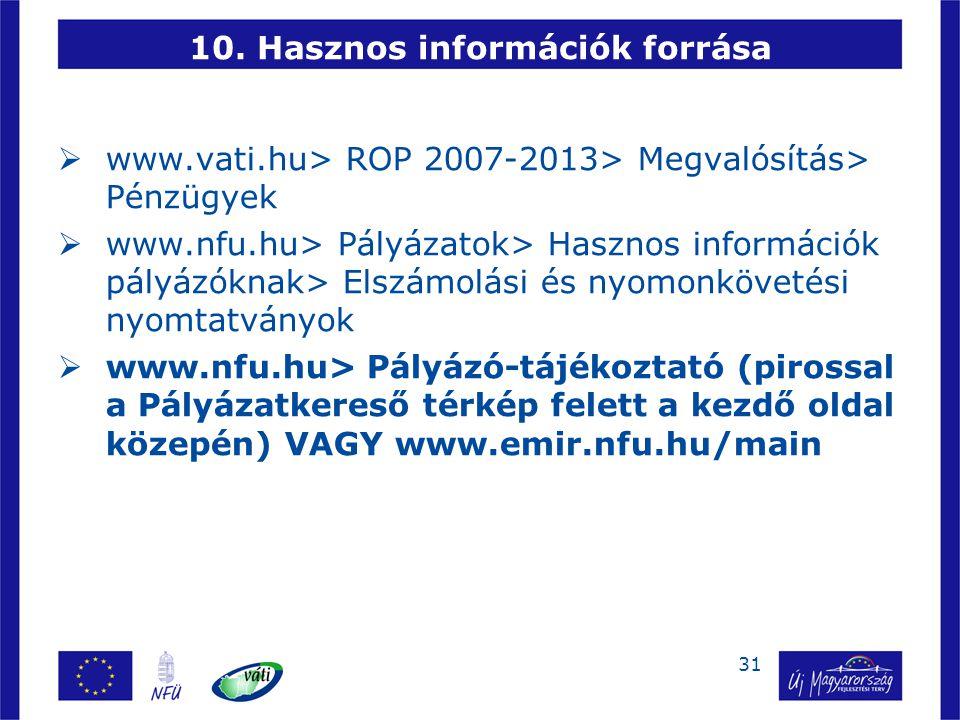 10. Hasznos információk forrása