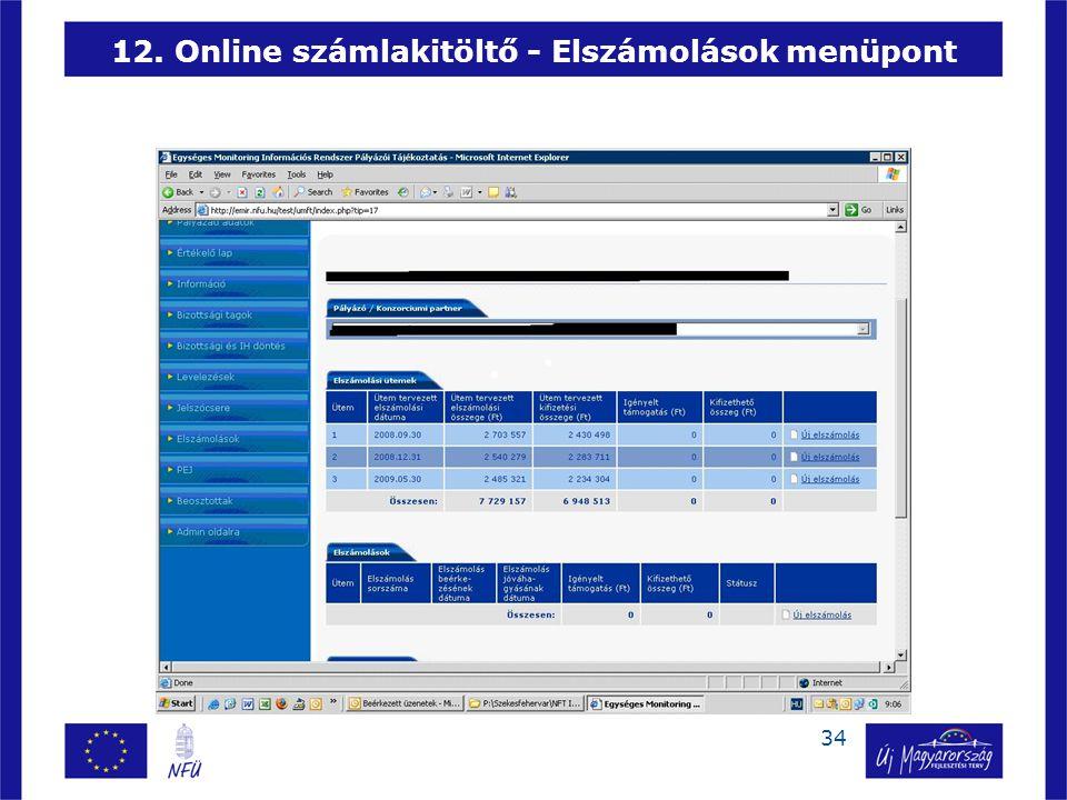 12. Online számlakitöltő - Elszámolások menüpont