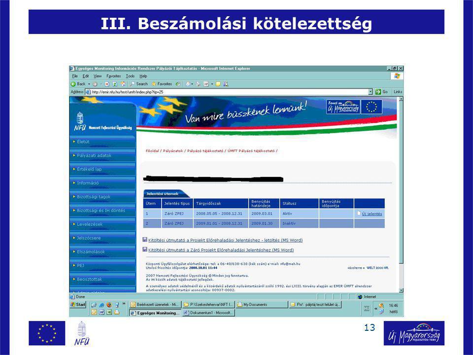 III. Beszámolási kötelezettség