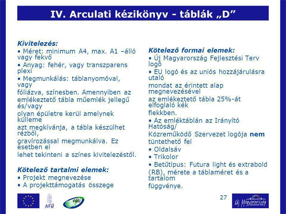 """IV. Arculati kézikönyv - táblák """"D"""