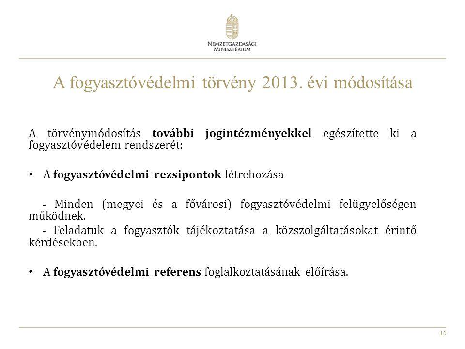 A fogyasztóvédelmi törvény 2013. évi módosítása