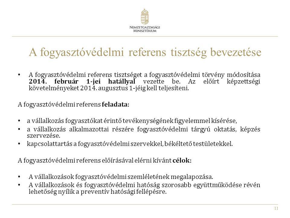 A fogyasztóvédelmi referens tisztség bevezetése