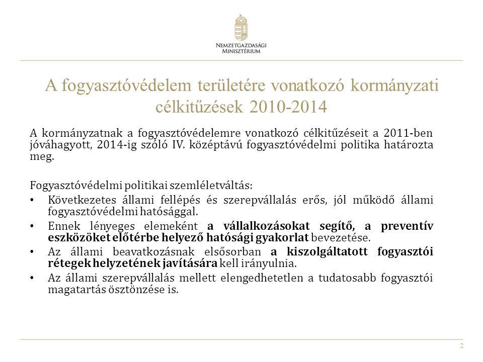 A fogyasztóvédelem területére vonatkozó kormányzati célkitűzések 2010-2014